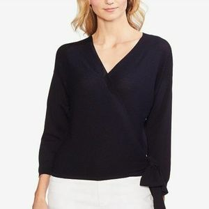 Vince Camuto Sweater Ribbed Wrap Navy Blue Sz XL